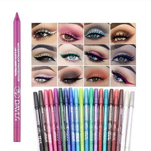 Ofanyia 20 Colors Eyeliner Pen Set Long Lasting Waterproof Colorful Eyes Makeup Eye Liner Pencil Kit