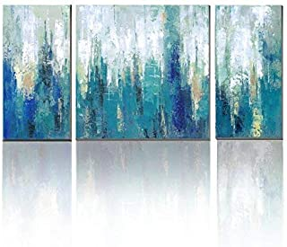 3Hdeko - Blue Abstract Canvas Wall Art Teal Abstract Painting Modern 3 Pieces Turquoise Prints Artwork for Living Room Bedroom Bathroom Home Decoration, Ready to Hang