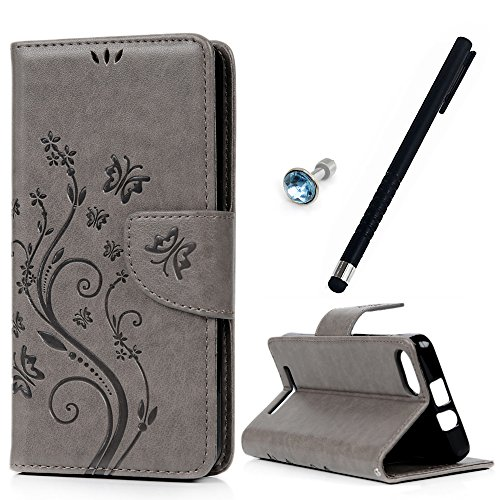 MAXFE.CO Leder Tasche Hülle Cover für Wiko Lenny 3 Hülle PU Schutz Etui Schale gray Muster Design Backcover Flip Cover Wallet mit Standfunktion Karteneinschub Etui + 1xDust plug+ 1x Touch Pen