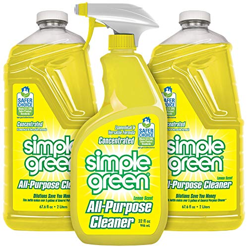 Simple Green All-Purpose Cleaner - Stain Remover for Clothing, Fabric & Carpet, Cleans Floors & Toilets, Degreases Ovens & Pans (Lemon, 32 oz Spray and 2-67.6 oz Refill)