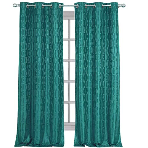 Royal Hotel Voyage Jacquard Teal, Top Grommet Blackout Window Curtain Panels, Pair/Set of 2 Panels, 38x96 inches Each