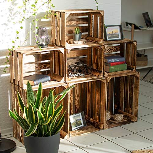LAUBLUST 7er Set Vintage Holzkisten – Kisten in 2 Größen, 50x40x30cm / 40x30x25cm, Geflammt, Neu, Unbenutzt | Möbel-Kiste | Wein-Kiste | Obst-Kiste | Apfel-Kiste | Deko-Kiste aus Holz - 3