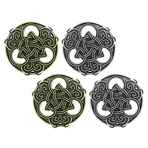 Harilla Paquete de 4 Broches de Escudo Vikingo Vintage Medieval Vikingo Celta Capa Hueca Suéter Broche Broche Joyería