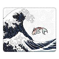 波と魚 和風マウスパッド25 * 30CMポリエステル布製 耐久性がありグリーンで環境に優しい精密シーミングマウスパッド