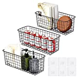 Magicfour 3 Pack Wire Baskets, Wall Basket Metal Fruit and Vegetable Storage Large Capacity Hanging Wire Baskets for Organizing, Storage Pantry, Cabinets, Garage, Black