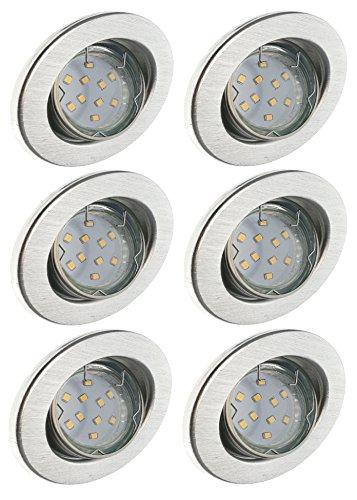 Trango 6er Set LED Einbaustrahler TG6729-069B Einbauleuchten Deckenstrahler aus rostfreiem Aluminum inkl. 6x GU10 LED Leuchtmittel schwenkbar direkt 230V
