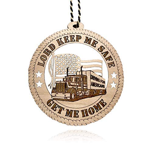 Jolette Designs Truck Driver Gifts for Men - Wooden Tractor Trailer Ornament - USA-Made Hanging Get Me Home Car, Home, Christmas Tree Ornaments for Truck Driving Industry Workers (1, Truck Driver)