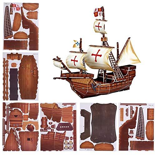 3D Papier Schiff, DIY 3D Papier Puzzle Schiff Spielzeug Santa Maria Piratenboot Modell für Kinder, 102 Stück