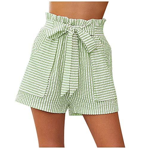 Xniral Damen Shorts Streifen Elegant Shorts mit Weitem Bein und Gürtel Bandage Hoher Taille Beiläufig Büro Shorts(Grün,L)