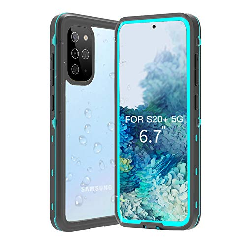 BDIG Hülle S20 Plus Wasserdicht, 360 Grad Rundum Schutz mit Eingebautem Displayschutz Outdoor TPU Transparent Bumper IP68 Stoßfest Handyhülle Schutzhülle Kompatibel mit Galaxy S20 Plus 6.7',Blau