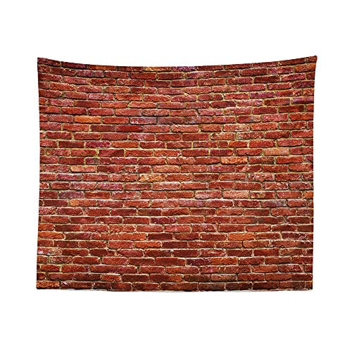 Brick Wall Tapestry - Red and Brown Wall Hanging Décor Art Tapestries - Small 26' H x 36' W inches - W.Francis American Made