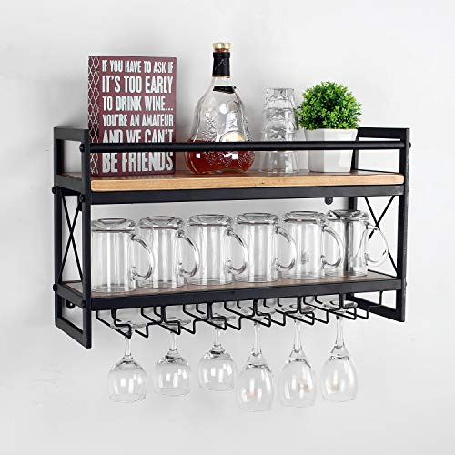 Womio Industrial 2-Tier 24in Wall Mounted Wine Racks with 6 Glass Holder for Wine Glasses,Mugs,Home Decor,Metal and Wood Stemware Glass Rack,Stemware Racks,Black