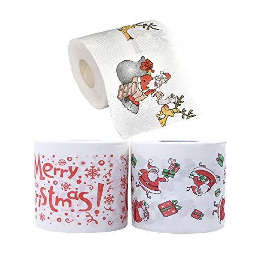 Weihnachtsrolle Papier Serviettenfarbe Lustige Toilettenpapier Weihnachtsmuster Serie Gedruckt Weihnachtsdekorationen Geschenke für Haus