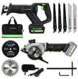 GALAX PRO Reciprocating Saw and Circular Saw Combo Kit with 1pcs 4.0Ah Lithium Battery and One Charger, 7 Saw Blades and Tool Bag