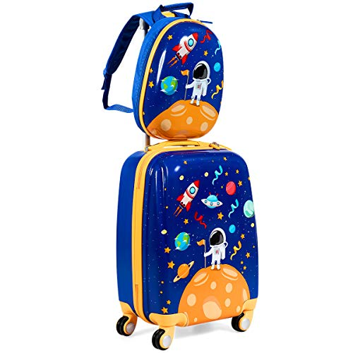 GYMAX 2Pc Kid Carry On Luggage Set, 12' & 18' Kids Suitcase with 4 Spinner Wheels, Travel Rolling Trolley for Boys and Girls, Gift for Toddlers Children (Astronaut)