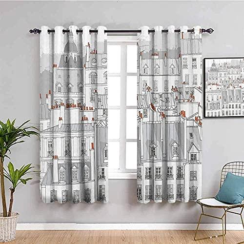 LTHCELE Opacas Cortinas Dormitorio - Blanco dibujos animados edificio ciudad - Impresión 3D Aislantes de Frío y Calor 90% Opacas Cortinas - 200 x 160 cm - Salon Cocina Habitacion Niño Moderna Decorati