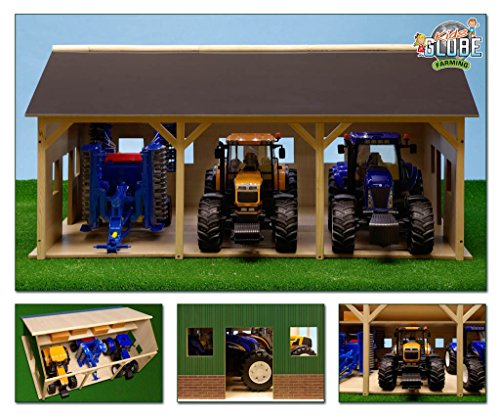 Van Manen KIDS340 Kids Globe Farming Schuppen (aus Holz, mit DachbodenGröße 55 x 77 cm, Maßstab 1:16, ohne Traktor, einfache Montage) 610340