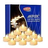 AGPTEK 100 pz tremolanti a batteria finto LED elettrico bianco caldo senza fiamma candele per Natale all'aperto Halloween decorazione di nozze 3,6 cm