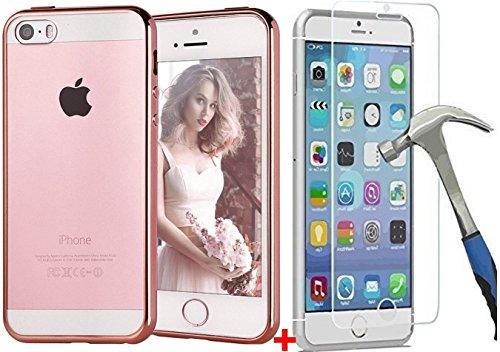 kalinda 1 PROTECCIÓN DE Vidrio Templado + iPhone 7 8 7s 8s Funda Caracas Case Cover Transparentee para iPhone 7 8 7s 8s Color Dorado Rosa Gold Que Brilla en Silicona Delgada TPU