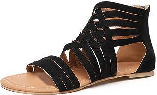 Sandales Femmes Plates Bout Ouvert Chaussures D\u0027été Plage Romain Gladiateur  Fermeture éclair Cheville Tongs