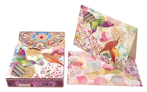 Punch Studio Floraculture Decorative Pouch Note Cards 43732, Set of 10