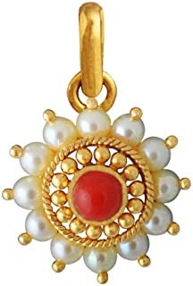 Lagu Bandhu 22k (916) Yellow Gold, Pearl and Coral Pendant for Women