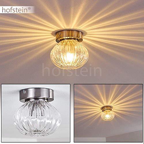 Deckenleuchte Edane, Deckenlampe aus Metall/Glas in Nickel-matt, 1-flammig, 1 x G9-Fassung max. 3 Watt, Lampenschirm aus Glas erzeugt einen Lichteffekt an der Decke, LED geeignet