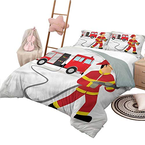 Nomorer Bed Sheets Queen Size Fire Truck Bedspread Bed Cover for All Season Fireman Uniform and Hose