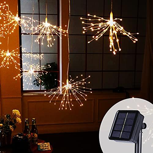 Sooair Feux D'artifice, 40 Pièces 200 LED IP65 étanches avec Télécommande Feux D'artifice en Fil de Cuivre, Feux D'artifice Led pour Fête de Mariage de Noël en Plein Air Blanc Chaud (Modèle Solaire)