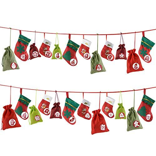 Cheer4bee Adventskalender zum Befüllen, 24 Weihnachten Geschenksäckchen, Jutesäckchen, Filz Säckchen, 1-24 Zahlen Buttons - für DIY Weihnachten zum Befüllen, Adventskalender 2020 Kinder