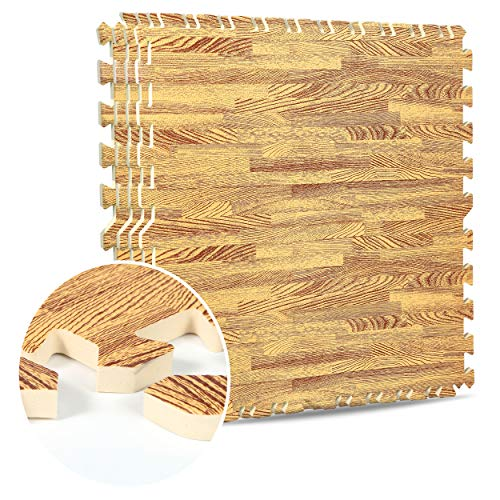 Interlocking EVA Foam Mats Light & Dark Wooden Floor Effect Gym Play Home Workout Soft Tiles Mat 12mm (60x60cm) (Golden Oak, 64 SQ Ft / 16 Mats)