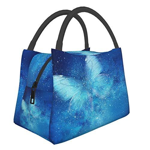 Olverz Bolsas de la compra aisladas con diseño de estrellas azules y mariposas, para el almuerzo, a prueba de fugas, con cremallera, para el trabajo, viajes, cocina, restaurante
