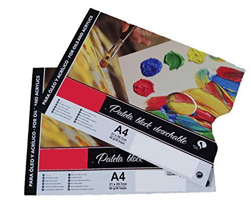 Lote 2 Paleta de Pintura Desechable/Paleta Block, (A4 21X29.7CM 60grs/ 36Hojas), Papel para Pintura Acrilico Óleo Lavable Impermeable (Pack 2 Paleta Block, A4/60grs)