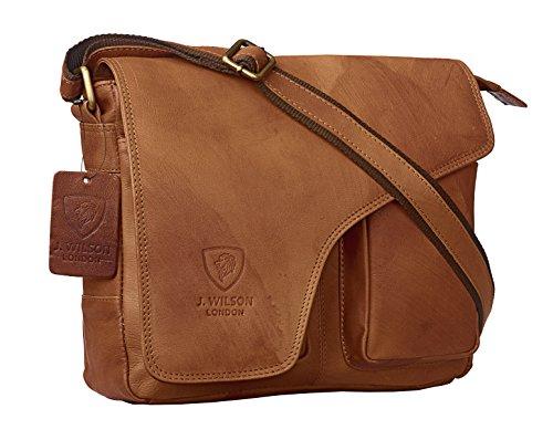 J WILSON London Designer Genuine Real Vintage Hunter Leather Handmade Mens Leather Flapover Everyday Cross Body Shoulder Work iPad Messenger Bag (Distressed Tan)