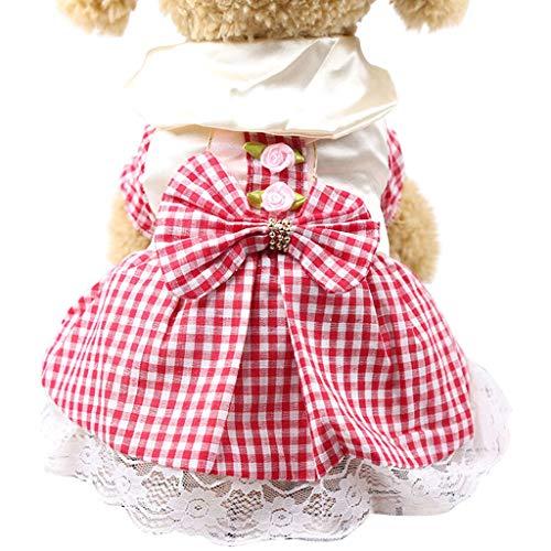 YWLINK Sommer Karierte Spitze Patchwork Süß Prinzessin Kleiden Haustier Hund Katze Kleid Atmungsaktiv Kleidung(Rot,XXL)