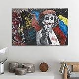 ganlanshu Rahmenlose Malerei Street Art Cartoon Mädchen Graffiti Bild für Wohnzimmer Moderne Dekoration abstrakte KunstZGQ5817 50X70cm