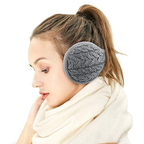 Ear Muffs for Womens/Mens - Winter Ear Warmers, Soft & Warm Knit Furry Fleece Earmuffs, Foldable Ear Covers for Cold Weather
