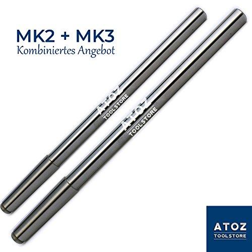 ATOZ Drehbank Prüfdorn für Fräsmaschine oder Drehmaschin Präzisions parallel Ausrichtdorn Fräse MK1 MK2 MK3 MK4 MK5 (MK2 + MK3)