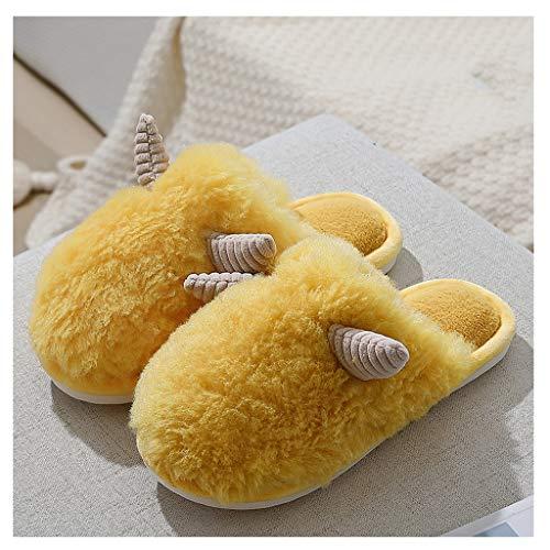 CJshop Zapatillas de Casa Invierno de algodón Zapatillas Mujer Inicio Calor Interior Felpa Linda Piso Zapatillas otoño del hogar y Zapatillas de Invierno Antideslizantes Zapatillas
