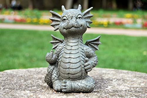 MystiCalls - Gartenfigur Gartendrache - Modell Mittelfinger klein - Fantasy Figur Deko Drache