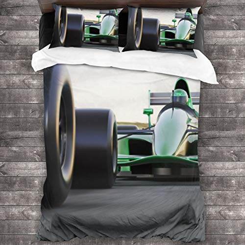 Duvet cover bedding Set,Motor Sports Race Car Competitive Close Quarters Racing On A Rrack With Motion Blur,3 Piece Set bedding with 2 pillowcases,Double(200 * 200cm)