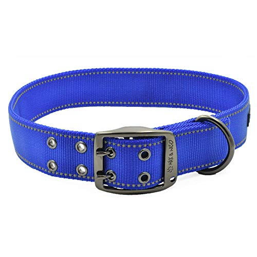 Max and Neo MAX Reflective Metal Buckle Dog Collar - We Donate a Collar to a Dog Rescue for Every Collar Sold (X-Large, Blue)