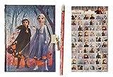 TrendyMaker Disney Frozen 2 - Eiskönigin Notizbuch, Tagebuch Set - glitzerndes Tagebuch mit Bleistift und extra Stickerbogen - 60 Sticker zum Verzieren -