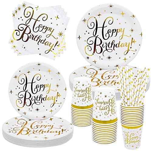 NINEFO 120pcs Piatti, Tovaglioli, Bicchieri e Cannucce in Carta Oro Bianco, Stoviglie Compleanno, Piatti e Bicchieri per Feste di Compleanno per 24 Ospiti