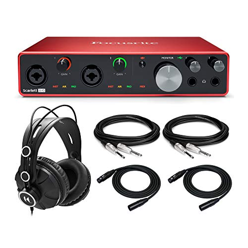 Focusrite Scarlett 8i6 (3rd Gen) USB Audio Interface with Pro Tools First Bundle with Knox Gear Closed-Back Studio Monitor Headphones, XLR Cables (25 ft.), & 1/4' TRS Cables (6 Items)