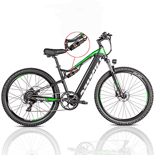 27.5'' Electric Bikes for Adults Electric Mountain Bike 500W Ebike Moped with 48V 13ah Removable Lithium Battery Bicycle Dual Shock Absorption E-MTB Professional 8 Speed Gears (BLACK)