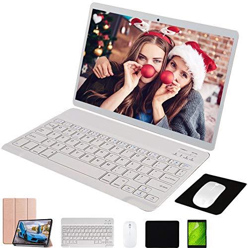 Tablet 10 Pollici con Wifi Offerte,4G Android 9.0 64GB ROM 4GB RAM Tablet con Tastiera Dual Sim,Octa-Core,Dual Fotocamera Voukou (Oro con Tastiera)