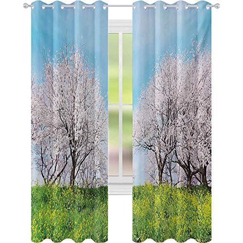 Cortinas opacas japonesas, paisajes de primavera, flores silvestres, cerezos, flores rosadas, panorámicas de 52 x 95, cortinas aisladas térmicas para cocina, color rosa y verde