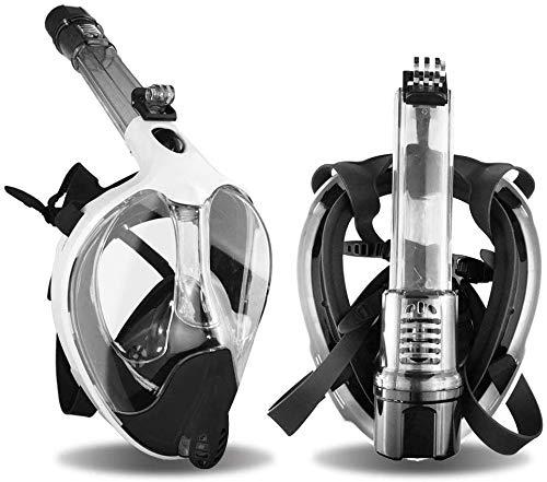 Arkmiido Máscara de Buceo Plegable, máscara de Snorkel Full Face 180 ° Visible con Soporte para cámara Deportiva,Fuga submarina Anti-huida, Anti-UV 400, para Adultos (Blanco, L/XL)