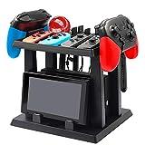 INFURIDER Soporte de Almacenamiento para Nintendo Switch, para Nintendo Switch Dock Joy-con Grip 2 Controladores Pro 2 Joy-con Straps 4 Joy-Cons 12 Tarjetas de Juego y 2 Poke Balls